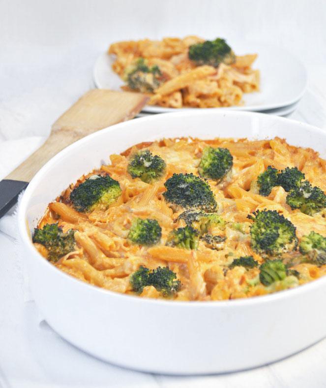 Nudel Schinken Gratin mit Brokkoli, ohne Vorkochen der Nudeln, vegetarisch, vegan möglich, Thermomix