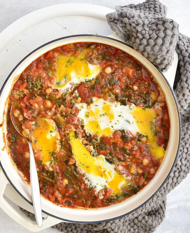 Shakshuka mit Paprika, Spinat und Kichererbsen, Thermomix, vegetarisch