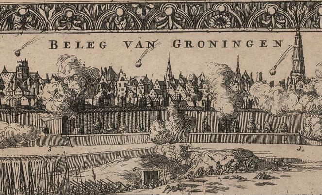 Bron: Groninger Archieven. Het beleg van Groningen in 1672 met het bombarderen van de stad, 1673. Uitsnede kaart R. de Hooghe, Groninger Archieven (817_10267)