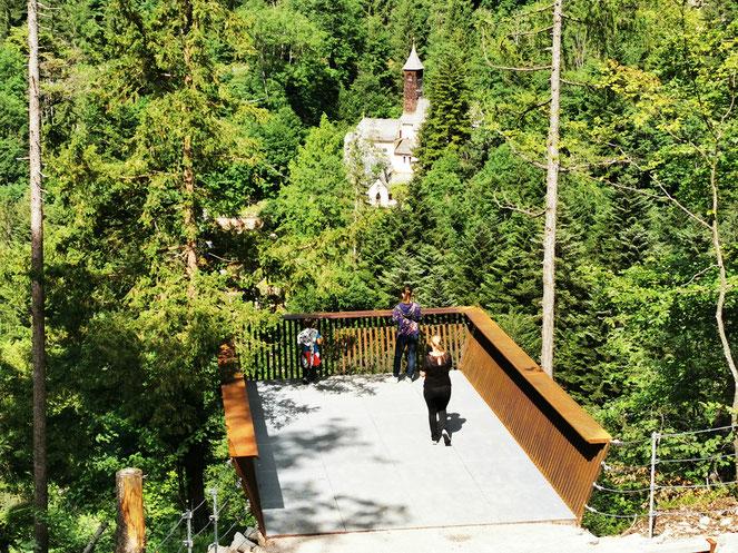 Die Aussichtsplattform über dem Klobenstein