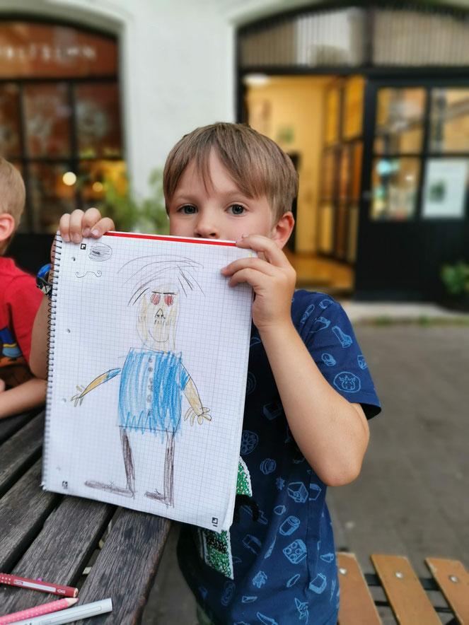 Kunst in der Kresslesmühle: Leo hat seinen Papa portraitiert