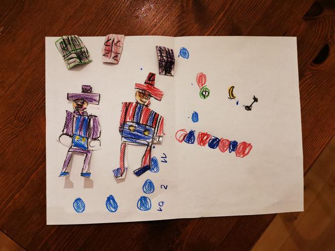 """Immerhin: Hier die analoge Version von """"Super Mario Party"""" - gebastelt im Kindergarten."""