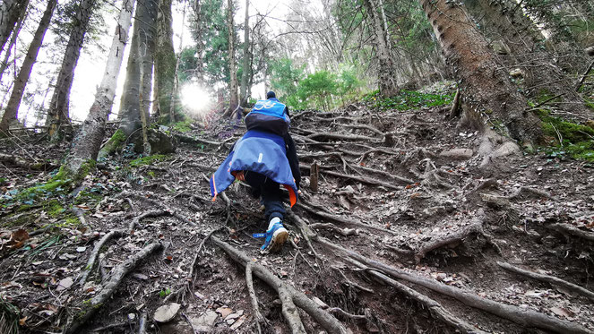 Kinder klettern Staffn Alm