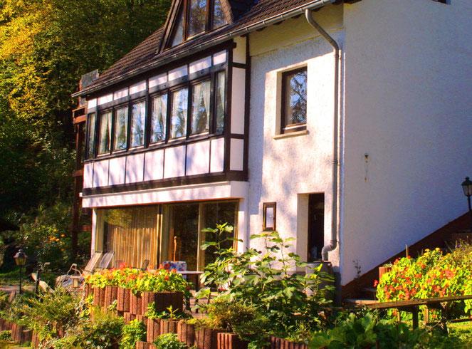 Ferienwohnung mit Terrasse und Blick ins Wiedtal