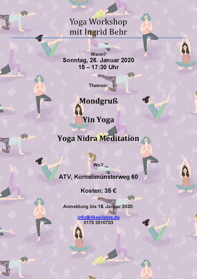 Plakat zum Yoga-Workshop Yin Yoga und Yoga Nidra Meditation am 26.01.2020