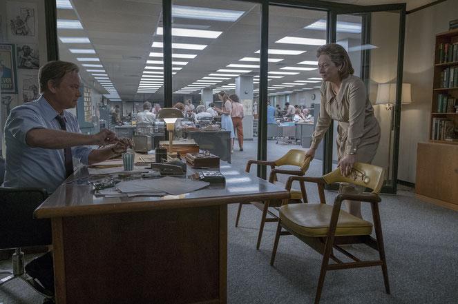 """Ben Bradlee (Tom Hanks) le rédac-chef et Katharine Graham (Meryl Streep) la patronne: un duo de choc à la tête du """"Washington Post"""" dans les années 70 (©UPI)"""