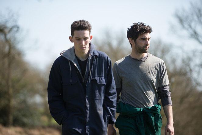 Johnny (Josh O'Connor, à gauche) et Gheorghe (Alec Secareanu), deux jeunes paysans qui s'aiment (©Pyramide Films).