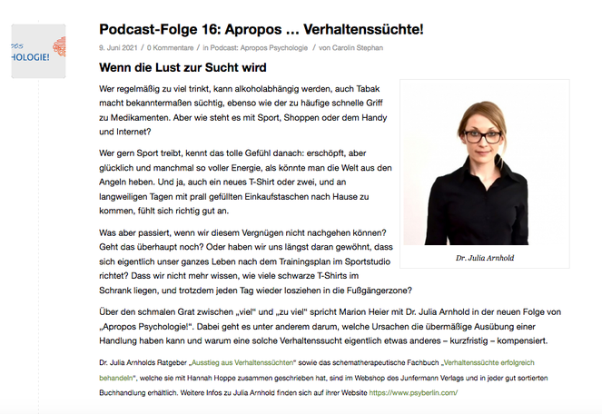 Podcast Junfermann Apropos Psychologie Verhaltenssucht