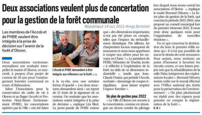 Pour des Forêts Vivantes à Oloron Ste Marie ACCOB et PHBE demandent au Maire plus d'attention pour réaliser l'aménagement Forestier le la forêt communale.