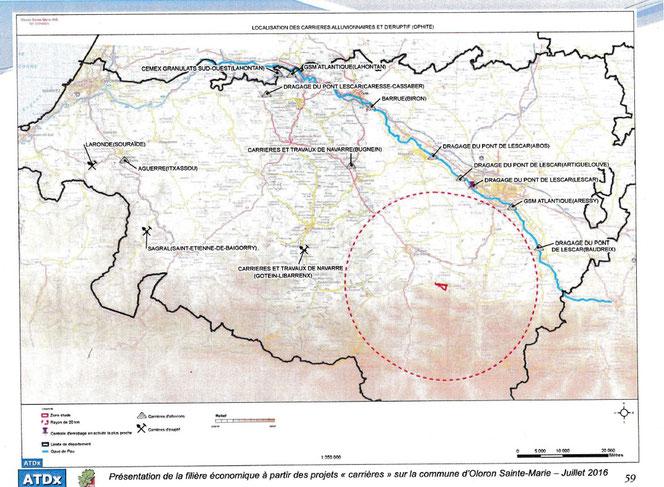 La carte présentée par G. Costanzo avec la zone qu'il a dit vouloir déservir....
