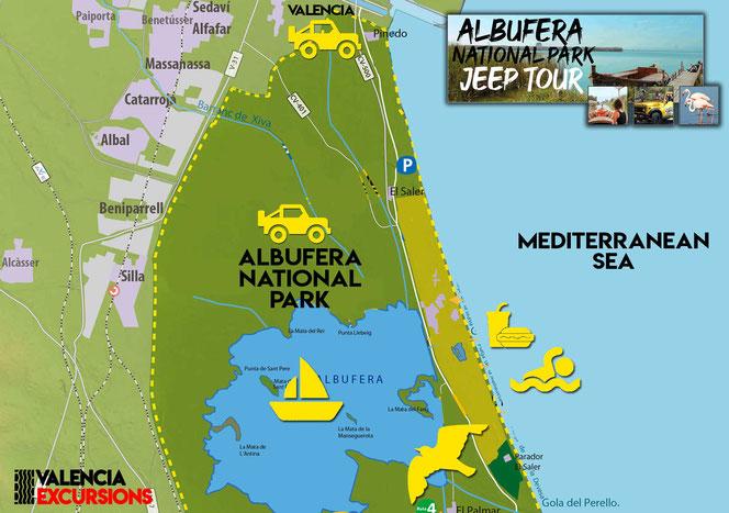 Paseo en Barca en la Albufera de Valencia El Palmar paseos en Barca excursión a El Palmar El Saler de Valencia Parque Natural de L'Albufera de Valencia tour guiado en jeep descapotable 4x4 en Albufera de Valencia