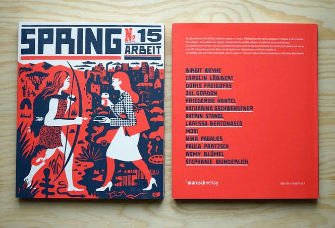 springmagazin no. 15 Arbeit u. a. mit Illustrationen von Katrin Stangl