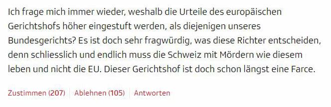 Kommentar zum SRF-Artikel (Screenshot srf.ch)