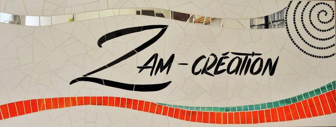 Enseigne commerciale en mosaïque Zam-création