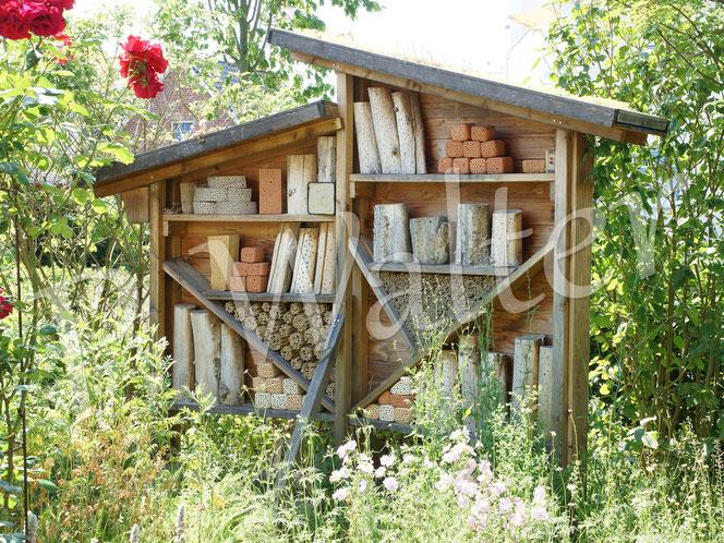 Bild: Insektennistwand, Wildbienenwand, Insektenhotel, Wildbienenhilfe, Bambusstengel, Bohrlöcher im Holz, Tonsteine