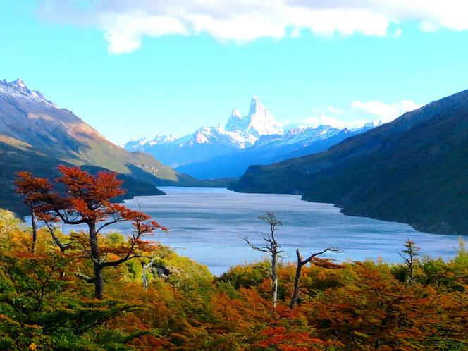 Blick auf den Lago Del Desierto, hinten in der Mitte erkennbar der Fitz Roy.