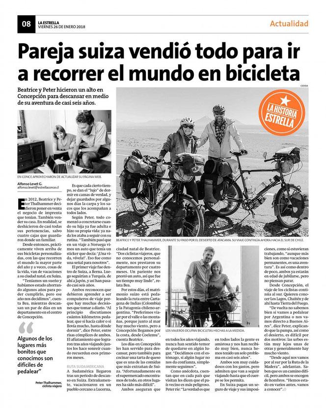 "Interview in der Tageszeitung ""La Estrella"" in Concepcion."