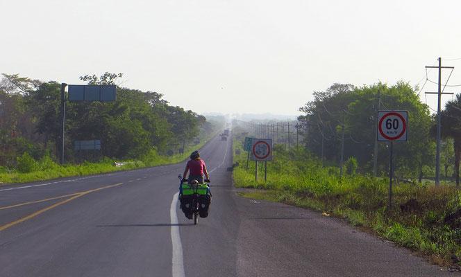 Am Morgen ist es noch nicht so heiss. Auf der MEX180 Veracruz zu.