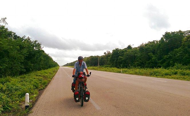 Die Halbinsel Yucatan ist zum Radfahren nicht wirklich interessant.