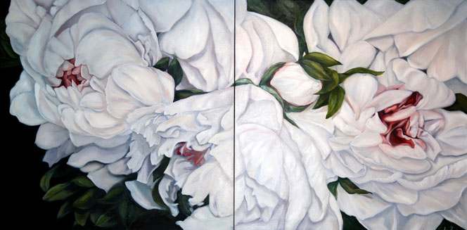 Peonies, oil on canvas, 100x200 cm