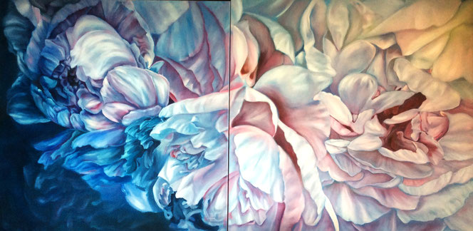 Peonies, oil on canvas, 100x200 cm, sold