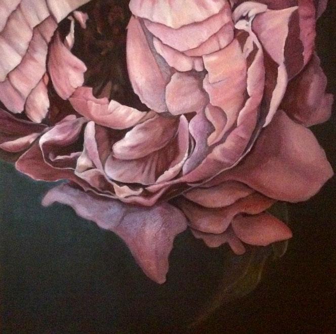 Peony 120x120cm, oil on canvas