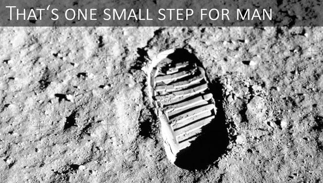Am 20. Juli 1969fotografierte Buzz Aldrin seinen Fußabdruck auf dem Mond, um die Bodenmechanik der Mondoberfläche zu untersuchen.Im Laufe der Zeit entwickelte dieses Foto sich zum Synonym für die Eroberung des Weltraums durch den Menschen.  Bild: NASA.