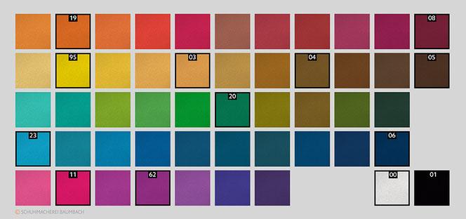 Farbkarte und Mischvorschläge für Saphir Teinture Francaise