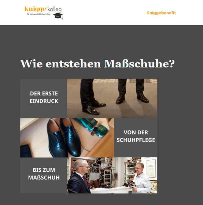 Präsentation des Videos über Business-Schuhe und Maßschuhe auf den Seiten des Kniggekollegs von Kniggebenefit.