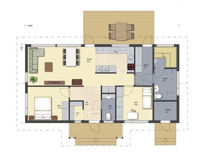 Blockhaus Erdgeschoss - Holzhaus in Blockbauweise - Wohnblockhaus bauen - Architektenhäuser - Kataloghäuser - Musterhäuser - Typenhäuser - Baukosten - Preise - Hauskauf - Eigenleistungen - Zimmerei - Bauplanung - Entwurfsplanung