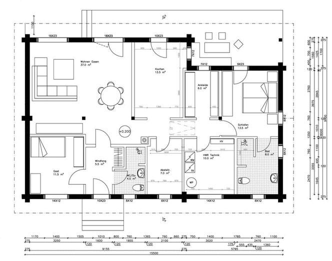 Grundriss - ebenerdiges Blockhaus - Barrierefreies Wohnen  - Blockhaus planen und bauen