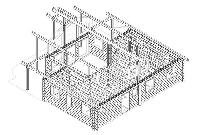 Wohnblockhaus mit Galerie - Werkplanung - Einfamilienhaus in Blockbauweise - Wohnhaus - Neubau - Hausbau - Blockhausbau - Hausplanung - Individuelle Planung - Massivholzhaus