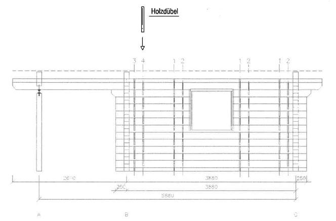 Holzdübel - Holznagel - Holzzapfen  im Blockhausbau - Planung eines Blockhauses