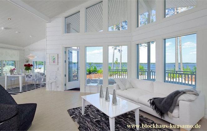 Architektenhaus  - einzigartiges Wohnblockhaus in Weiß - Massivholzhaus für Allergiker - allergikergerechtes Bauen