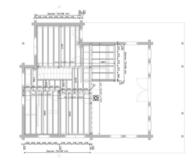 Blockhaus mit Planung. Die Planung einer Zwischendecke nach Statik. Die Konstruktionen von jedem Haus ist anders.