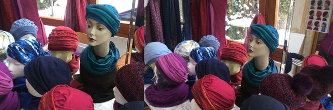 Vreni Lorenzini - Kopfbedeckungen kaufen - nach  Chemo - Blick in die Kunstwerkstätte 2