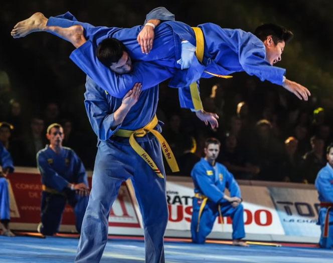 Kämper des Vovinam Viet Vo Dao machen einen Vorführung. Ein Kämpfer wehrt sich mit einem Scherentrittsprung zum Kopf gegen einen Angreifer.