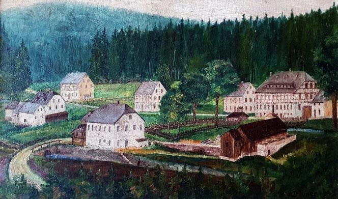 Ein Gemälde, das heute in der Bornwaldschänke hängt, zeigt, wie die nahe gelegenen Bornwaldhäuser in der zweiten Hälfte des 19. Jahrhunderts ausgesehen haben. Ganz rechts befindet sich die Bornwaldmühle. Foto: Andreas Bauer