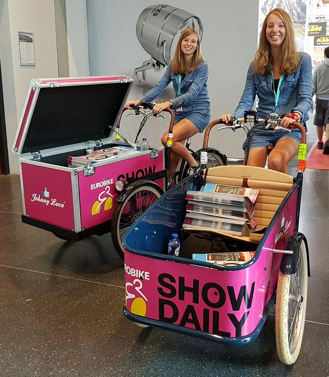 EuroBike 01.09.2017 in Friedrichshafen: 2 Johnny Loco Cargo Modelle und zwei hübsche Models