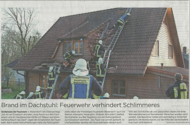 Zeitungsbericht vom 15.04.2020 aus der Segeberger Zeitung zum Einsatz in Wakendorf I