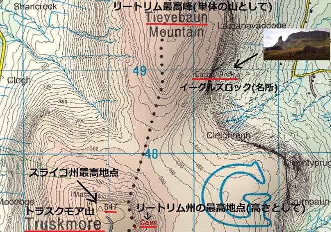 リートリムの名峰イーグルスロックの周辺地図