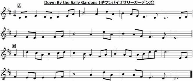 アイリッシュ アイルランド 音楽 Down By The Sally Gardens  ダウンバイザサリーガーデンズ