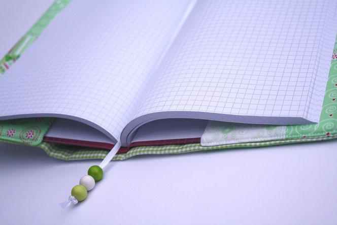 Patchwork Notizbuch grün Eulen