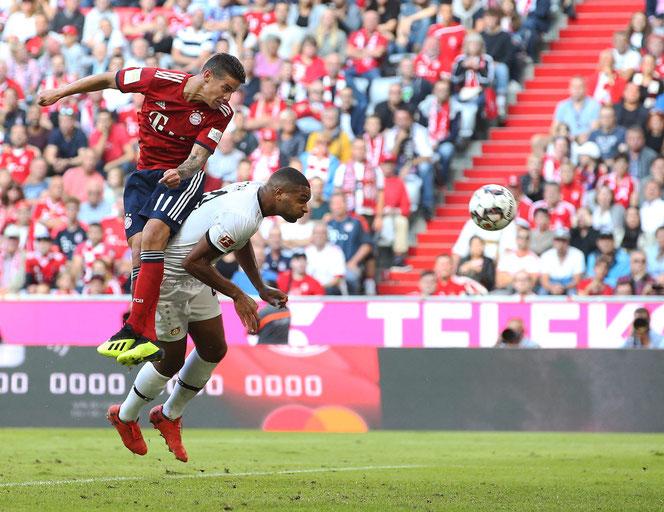 James a inscrit d'une tête appuyée son premier but de la saison samedi dernier contre le Bayer Lerverkusen (3-1)