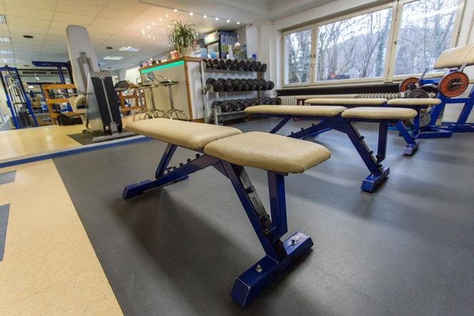 Freihantelbereich Fitnesstreff Hüttisch, Kurzhanteln, Gewichte, Gewichtstraining, Kurzhanteltraining