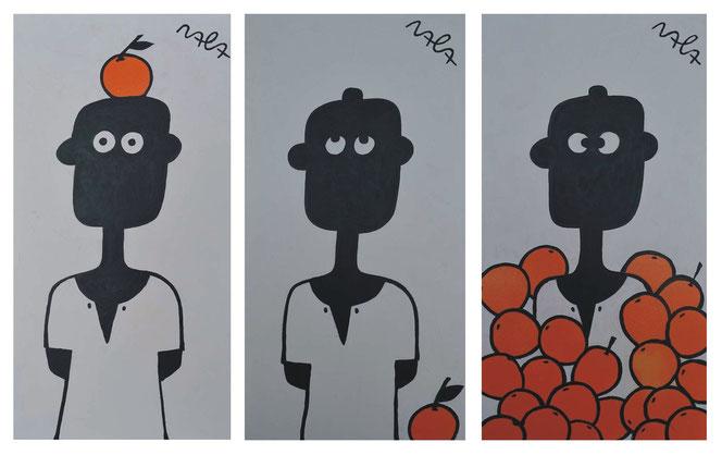 NALA im Zitronental, (by André Pilz ) 37cm x 70cm each, Acrylic, enamel on Hardboard