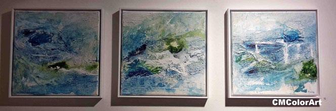 Aqua, Trilogie, blau-grün, cmcolorart, Ausstellung, Schattenfugenrahmen, Marmormehl