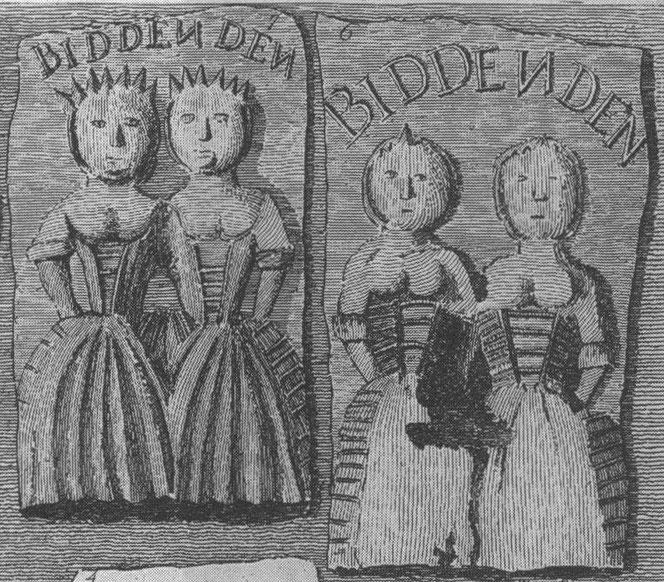 ビデンデンのケーキに押された女性たちの図柄のモデルとして彼女たちが描かれている。