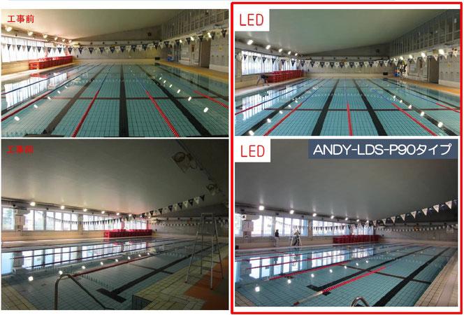 ANDY-LDS プール用LED 導入写真