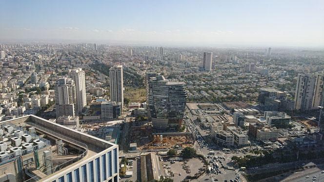Tel Aviv's view from the top floor of Izraeli building